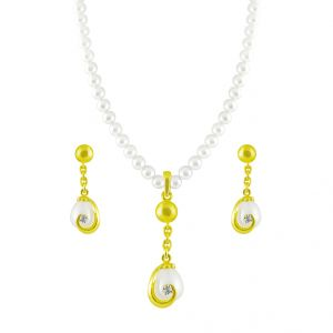 Jewellery - Jpearls Rinky Diamond Pearl Pendant Set