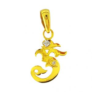 Jpearls Om Ganesh Diamond Pendent- For Mens