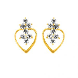 Jpearls Heart Shape Diamond Earring