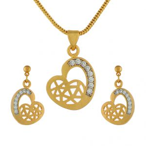 Sri Jagdamba Pearls Flower Heart Pendant Set -jpjan-17-032