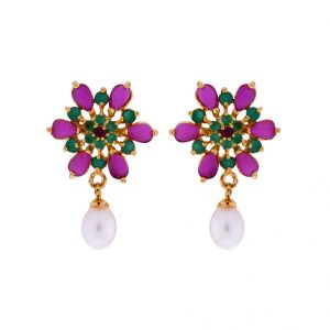 Jagdamba,Kalazone,Flora Pearl Earrings - Sri Jagdamba Pearls Color Drop Earrings(Code-JPJL-17-12)