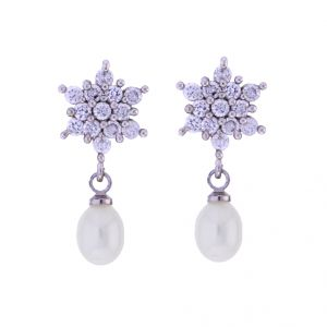 Rcpc,Jpearls,Surat Diamonds,Flora,Kiara,Jagdamba Pearl Jewellery - Sri Jagdamba Pearls Shining Star Drop Earrings(Code-JPJL-17-13)