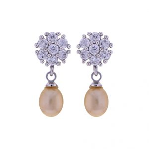 Triveni,Platinum,Jagdamba,Flora,La Intimo,Diya,Bikaw Pearl Earrings - Sri Jagdamba Pearls Pink Pearls Drop Earrings(Code-JPJL-17-14)