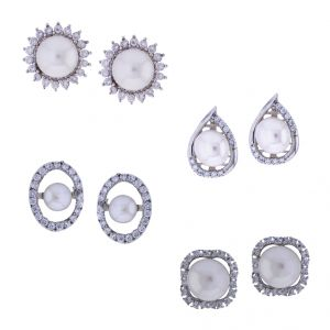 Sri Jagdamba Pearls Combo Of 4pair Fashionable Earrings(code-jpjl-17-19c)