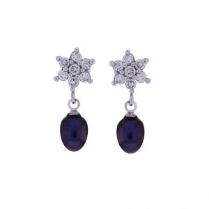 Sri Jagdamba Pearls Cz Black Pearl Drop Earrings(code-jpjl-17-20)