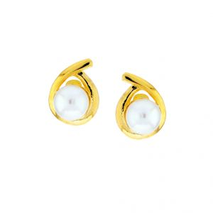 Triveni,Platinum,Jagdamba,Asmi,Pick Pocket,La Intimo,Surat Diamonds Pearl Earrings - Sri Jagdamba Pearls Aksara Pearl Studs(Code-JPJL-17-22)