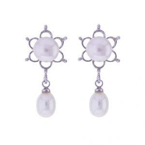 Sri Jagdamba Pearls White Pearls Drop Earrings(code-jpjl-17-23)