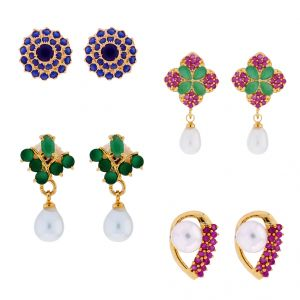 Sri Jagdamba Pearls Combo Of 4 Pair Daily Wear Earrings (code-jpjl-17-24c)