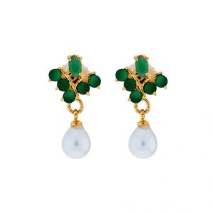 Triveni,Tng,Jagdamba Pearl Earrings - Sri Jagdamba Pearls Semi Precious Drop Earrings(Code-JPJL-17-27)