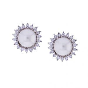 Triveni,Platinum,Jagdamba,Flora,La Intimo,Diya,Bikaw Pearl Earrings - Sri Jagdamba Pearls Navya Earrings Studs(Code-JPJL-17-34)