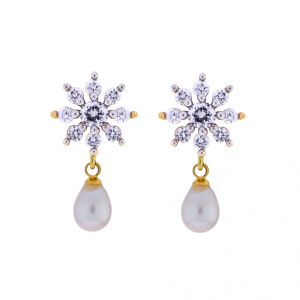 Sri Jagdamba Pearls White Cz Drop Earrings(code-jpjl-17-43)