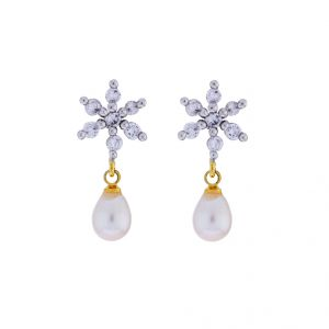 Kiara,Jagdamba,Platinum Women's Clothing - Sri Jagdamba Pearls 5 Star Drop Earrings(Code-JPJL-17-48)