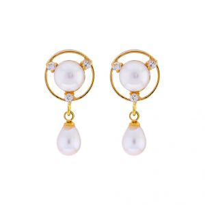 Sri Jagdamba Pearls 3 Stone Drop Earrings(code-jpjl-17-49)