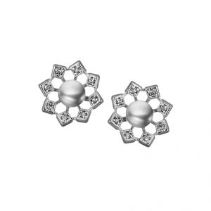 Sri Jagdamba Pearls Flower Cz Grey Earrings(code-jpjl-17-50)
