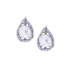 Triveni,Platinum,Jagdamba,Asmi Pearl Earrings - Sri Jagdamba Pearls Stone Pearl Earrings(Code-JPJL-17-52)