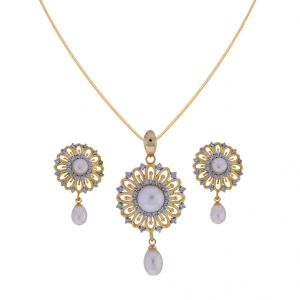Lime,Soie,Jagdamba,Tng Pearl Pendants - Sri Jagdamba Pearls Graceful Pearl Drop Pendant Set(Code-JPJL-17-71)