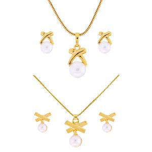 triveni,platinum,jagdamba,estoss,surat diamonds,Jagdamba,Oviya Necklace Sets (Imitation) - Sri Jagdamba Pearls Combo Of 2Pair Of Special Drop Pendant Set (Code-JPJL-17-73C)