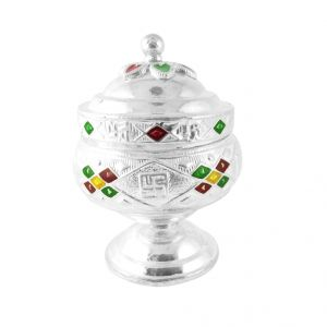 Sri Jagdamba Pearls Well Crafted Silver Kumkum Dabi - Jpjl-7-859