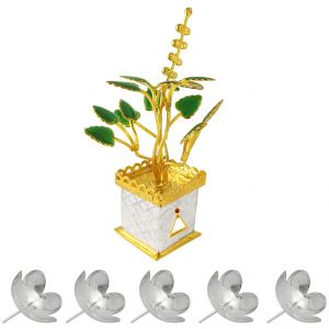 Kawachi,Kreativekudie,Jagdamba Home Decor & Furnishing - Sri Jagdamba Pearls Golden Tulsi Silver Plant Code JPJL-7-881NF