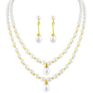 Double String Oval Pearl Set