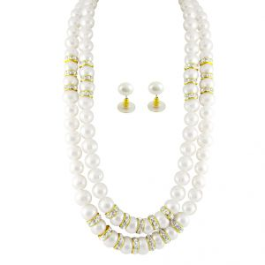 Jagdamba Jewellery - JPEARLS 2 LINE SIMPLE PEARL SET
