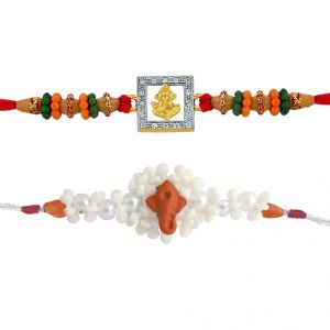 Precious & Semi Precious Rakhis (India) - Sri Jagdamba Pearls  Set Of 2 Rakhis  Code JPJUN-16-199C