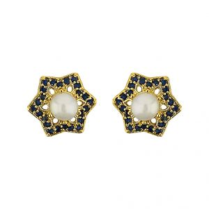 Triveni,Platinum,Jagdamba,Flora,La Intimo,Diya,Bikaw Pearl Earrings - Sri Jagdamba Pearls  Star Pearl Earrings   Code JPJUN-16-226