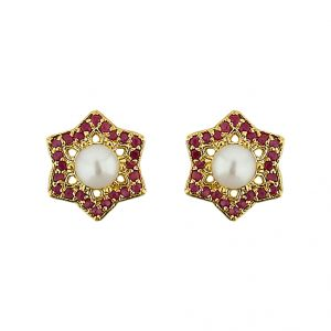 Triveni,Platinum,Jagdamba,Pick Pocket,Kiara,Valentine,Estoss Women's Clothing - Sri Jagdamba Pearls  Stary Pearl Earrings ( JPJUN-16-228_2018 )