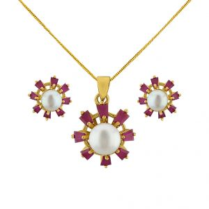 Sri Jagdamba Pearls Attractive Pendant Set Code Jpjun-16-232