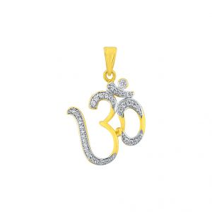 Diamond Pendants, Sets - Sri Jagdamba Pearls 18kt Om Diamond Pendant Code JPJUN-16-53