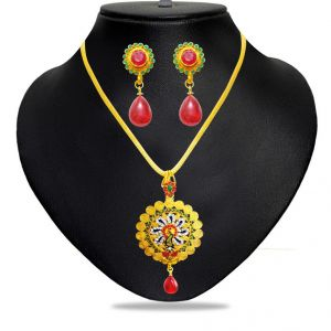 Triveni,Platinum,Jagdamba,Ag,Unimod,Diya Women's Clothing - Jpearls TRENDY NECKLACES SET - JPJUN-17-0054