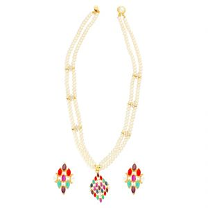 Asmi,Jagdamba Women's Clothing - MULTI COLOUR PENDANT WITH 2 LINE PEARLS NECKLACE BY SRI JAGDAMBA PEARLS (JPJUN-18-102 )