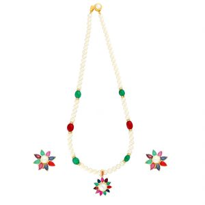 Jagdamba,Avsar,Lime,Flora,Ag Women's Clothing - ATTRACTIVE PENDANT WITH PEARLS NECKLACE BY SRI JAGDAMBA PEARLS (JPJUN-18-103 )
