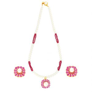 Kiara,Sparkles,Jagdamba,Cloe,La Intimo,Diya,Shonaya Women's Clothing - RUBY PRECIOUS STONE PENDANT WITH PEARLS NECKLACE BY SRI JAGDAMBA PEARLS (JPJUN-18-105 )