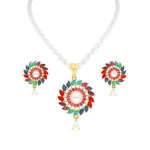 Vipul,Arpera,Clovia,Oviya,Sangini,Fasense,Jagdamba Women's Clothing - Colourful Pendant In Pearl Necklace By Sri Jagdamba Pearls ( JPJUN-18-110_2018 )