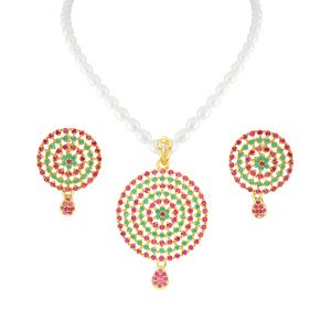 Kiara,Sparkles,Jagdamba,Cloe,Clovia Women's Clothing - Colorfull Circular Pendant In Pearl Necklace By Sri Jagdamba Pearls ( JPJUN-18-111_2018 )