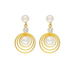 Sparkles,Jagdamba,Platinum Women's Clothing - ROUND RING EARRINGS BY SRI JAGDAMBA PEARLS (JPJUN-18-199 )