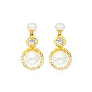 triveni,platinum,jagdamba,flora,avsar Earrings (Imititation) - Engagement Earrings By Sri Jagdamba Pearls ( JPJUN-18-210_2018 )