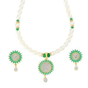 jagdamba,surat diamonds,valentine,jharjhar,asmi,tng,cloe,flora Necklace Sets (Imitation) - EMERALD MATCHING PENDANT WITH PEARLS NECKLACE BY SRI JAGDAMBA PEARLS (JPJUN-18-343 )