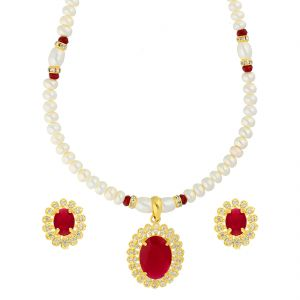 Kiara,La Intimo,Shonaya,Avsar,Valentine,Jagdamba,Pick Pocket,Oviya,N gal Women's Clothing - RED STONE PENDANT WITH PEARL NECKLACE BY SRI JAGDAMBA PEARLS (JPJUN-18-345 )