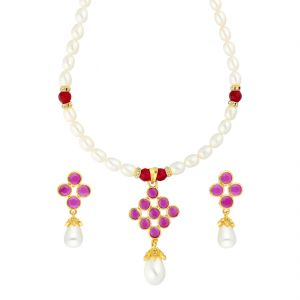 Jagdamba,Sparkles Women's Clothing - PINK STONE PENDANT WITH PEARL NECKLACE BY SRI JAGDAMBA PEARLS (JPJUN-18-347 )
