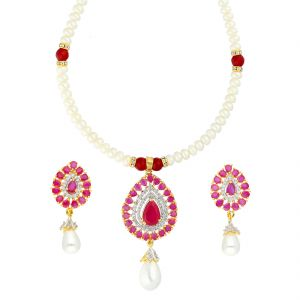 Jagdamba,Mahi,Flora Women's Clothing - DESIGNER STONE PENDANT WITH PEARL NECKLACE BY SRI JAGDAMBA PEARLS (JPJUN-18-348 )