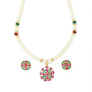 Vipul,Arpera,Clovia,Oviya,Kiara,Cloe,Jagdamba Women's Clothing - Multi-Colour Stone Pearl Necklace By Sri Jagdamba Pearls ( JPJUN-18-349_2018 )