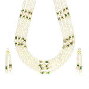 surat diamonds,valentine,Jagdamba Fashion, Imitation Jewellery - Green Stone 4 Line Necklace By Sri Jagdamba Pearls ( JPJUN-18-438_2018 )