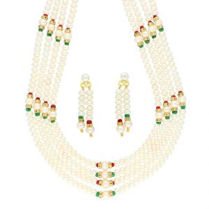 Platinum,Port,Mahi,Jagdamba Women's Clothing - MULTI STONE 4 LINE NECKLACE BY SRI JAGDAMBA PEARLS (JPJUN-18-439 )