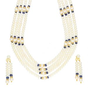 jagdamba,surat diamonds,valentine Necklace Sets (Imitation) - BLUE STONE 4 LINE NECKLACE BY SRI JAGDAMBA PEARLS (JPJUN-18-440 )