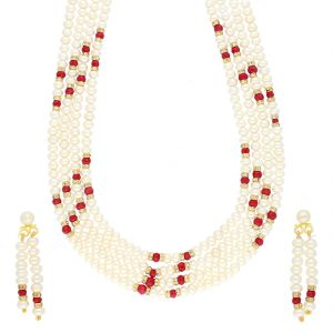 Jagdamba,Mahi,Flora,Sangini Women's Clothing - RED STONE 4 LINE NECKLACE BY SRI JAGDAMBA PEARLS (JPJUN-18-441 )