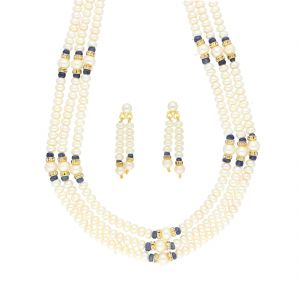 Asmi,Jagdamba Women's Clothing - 3 LINE PEARL NECKLACE BY SRI JAGDAMBA PEARLS (JPJUN-18-442 )
