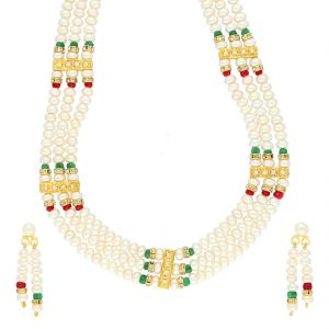 Jagdamba,Mahi,Flora,Sangini,Gili Women's Clothing - 3 LINE DESIGNER PEARL NECKLACE BY SRI JAGDAMBA PEARLS (JPJUN-18-443 )