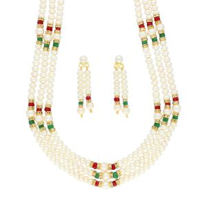 lime,surat tex,soie,jagdamba,sangini,triveni Necklace Sets (Imitation) - 3 LINE FASHIONABLE PEARLS NECKLACE BY SRI JAGDAMBA PEARLS (JPJUN-18-444 )